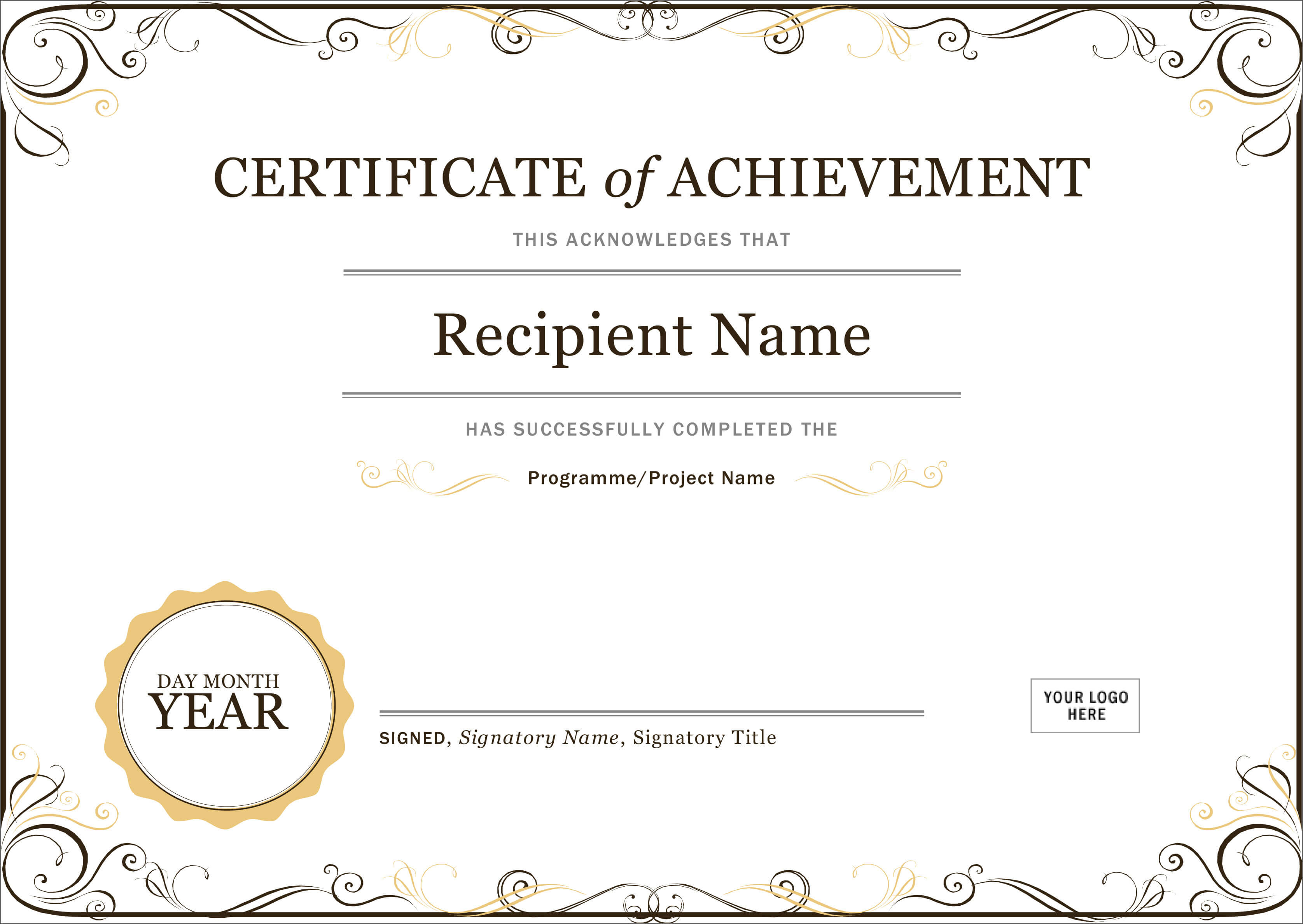 50 Creative Blank Certificate Templates In Psd Photoshop within Certificate Of Achievement Template Word
