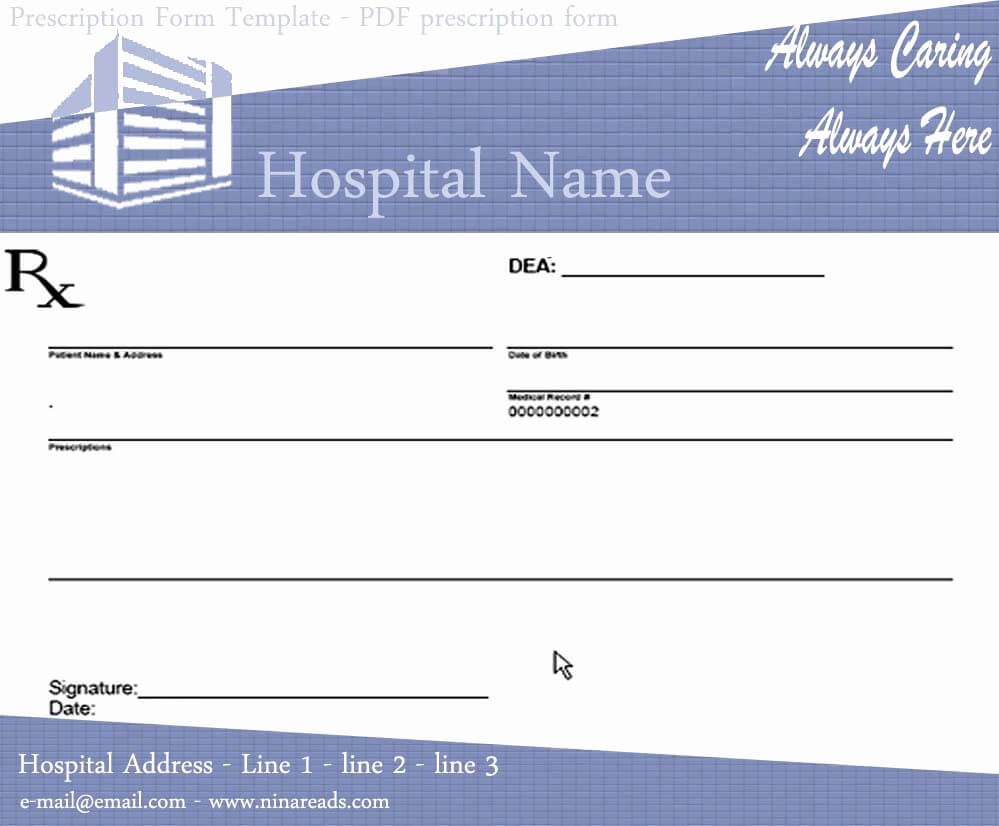 50 Prescription Pad Template Microsoft Word | Culturatti Intended For Blank Prescription Form Template