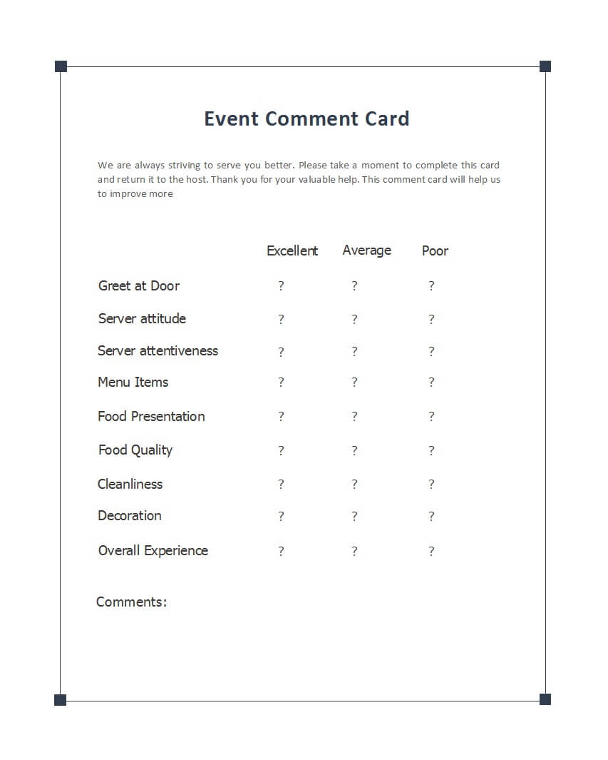 50 Printable Comment Card & Feedback Form Templates ᐅ inside Restaurant Comment Card Template