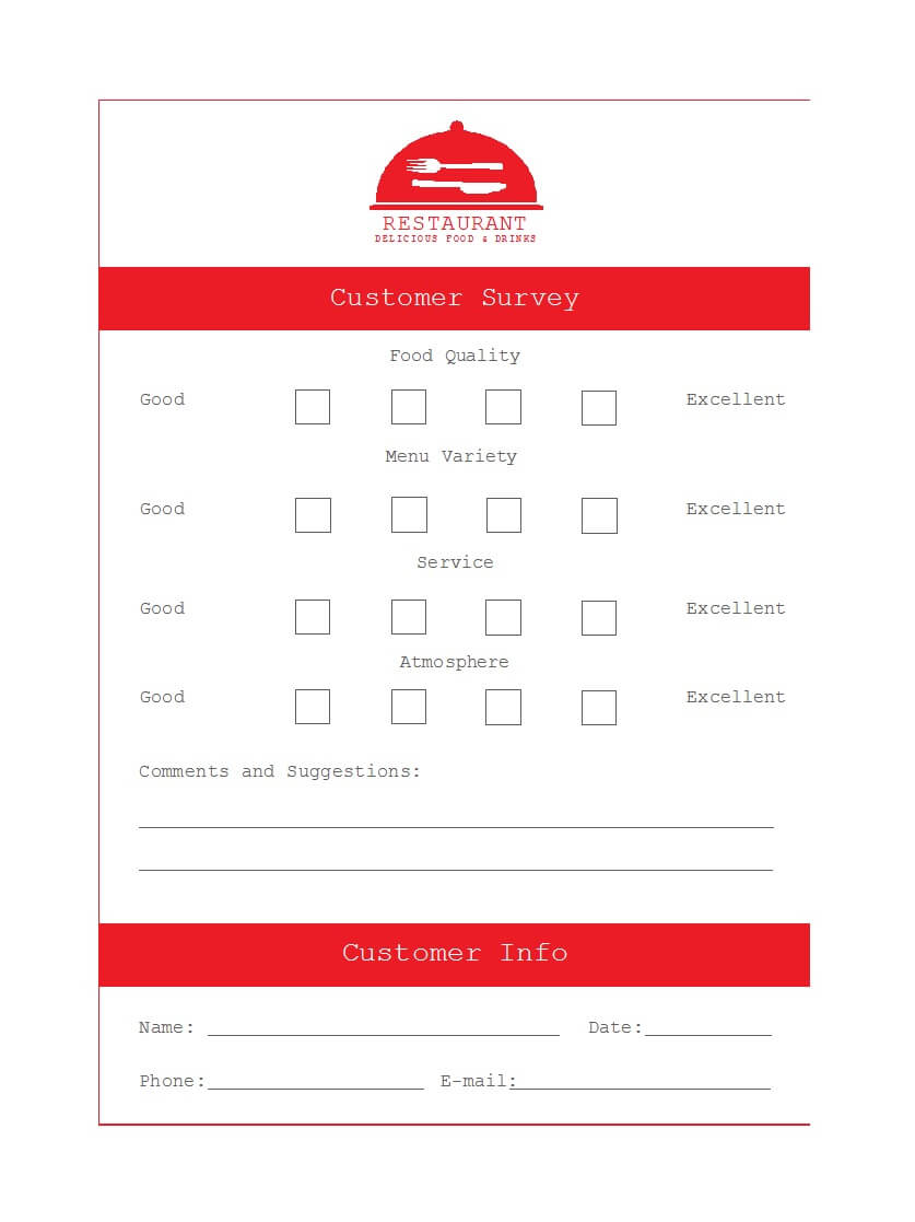 50 Printable Comment Card & Feedback Form Templates ᐅ intended for Restaurant Comment Card Template
