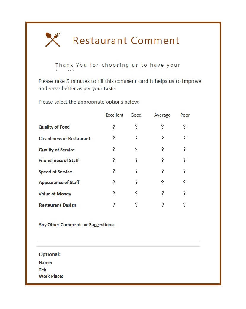 50 Printable Comment Card & Feedback Form Templates ᐅ Pertaining To Restaurant Comment Card Template