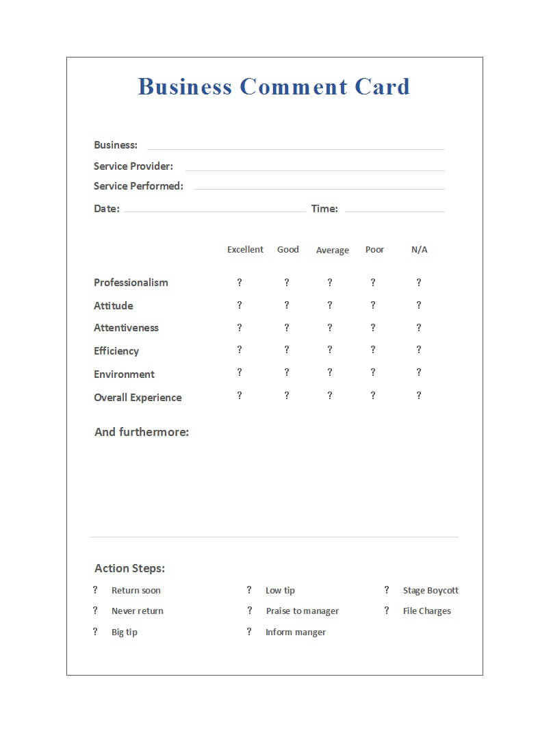50 Printable Comment Card & Feedback Form Templates ᐅ With Comment Cards Template