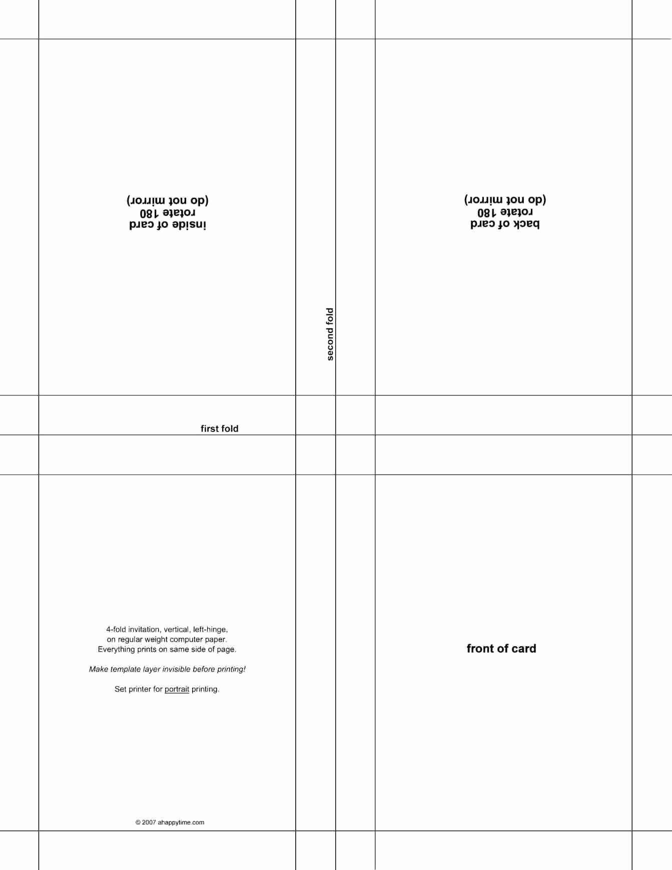 50 Quarter Fold Card Template Word | Culturatti regarding Blank Quarter Fold Card Template
