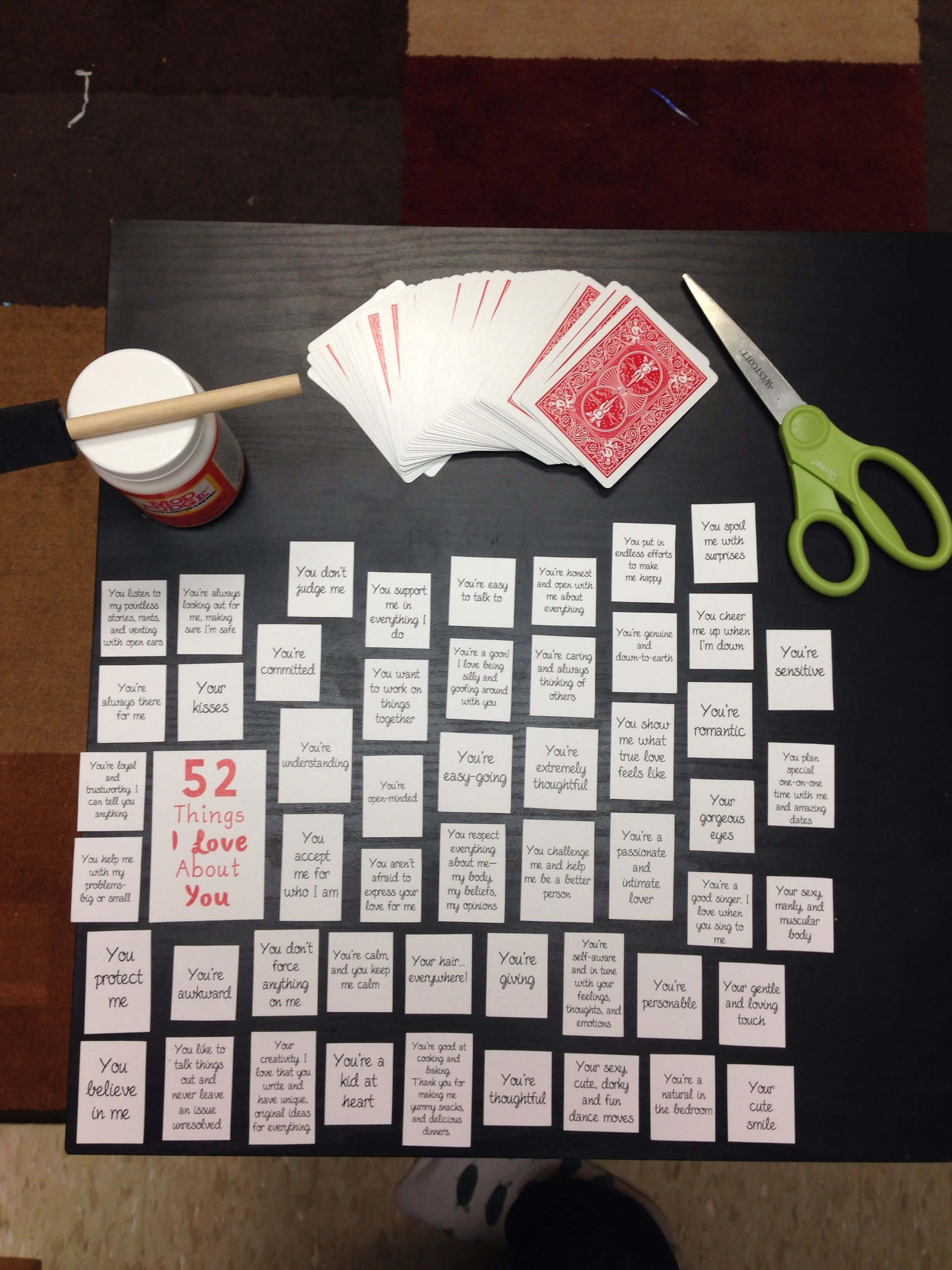 """52 Things I Love About You"""" Make A Table On Microsoft Word in 52 Things I Love About You Deck Of Cards Template"""