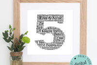 5Th Anniversary Gift – Word Art – Printable Gift – 5 Year within Anniversary Card Template Word