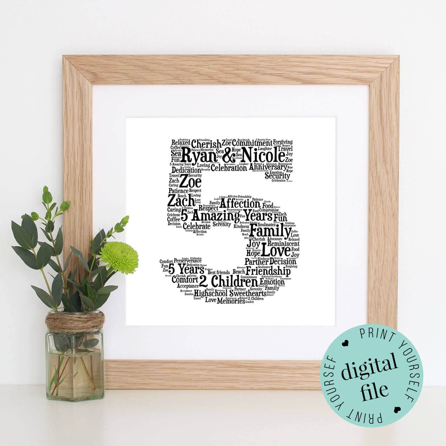 5Th Anniversary Gift - Word Art - Printable Gift - 5 Year within Anniversary Card Template Word