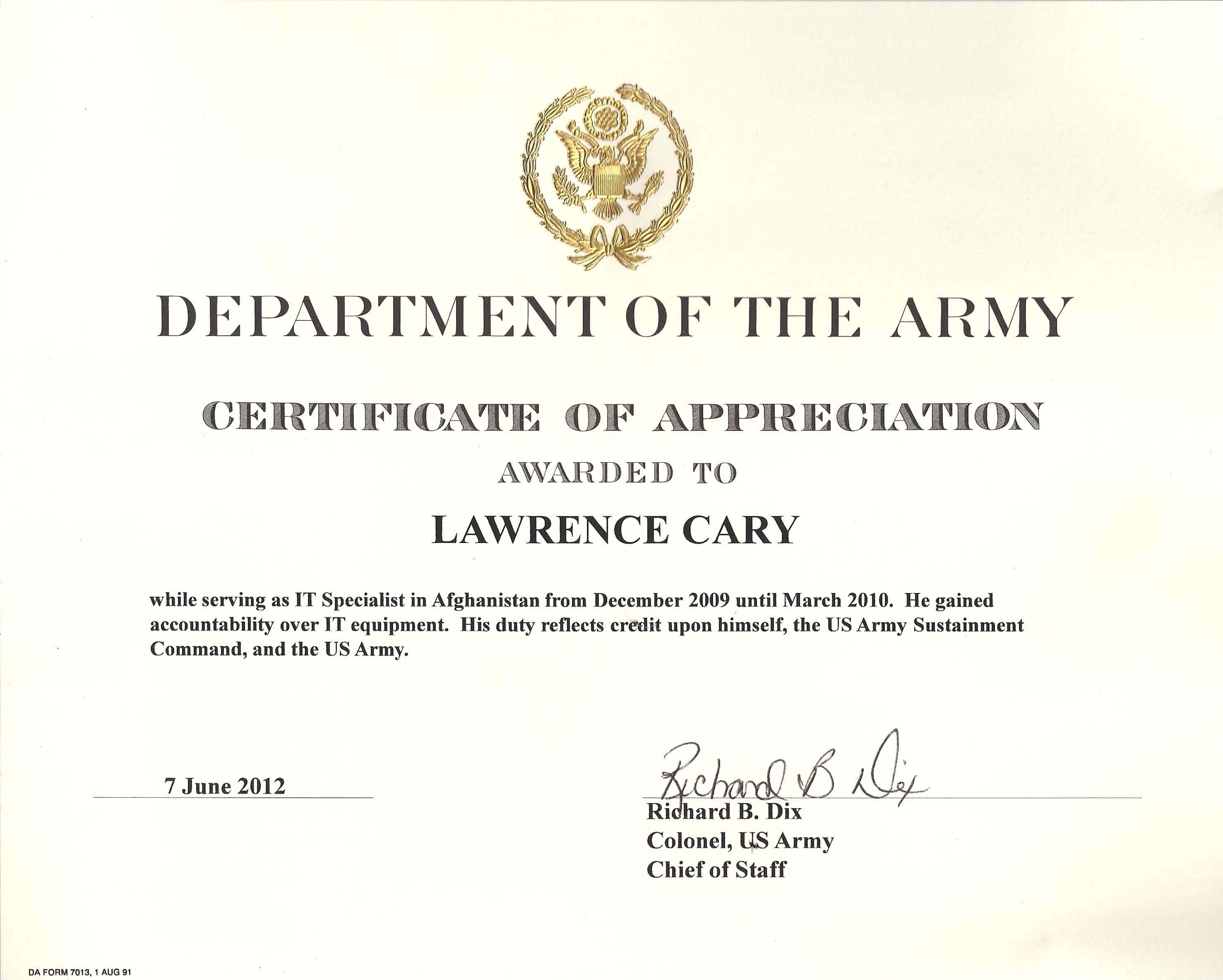6+ Army Appreciation Certificate Templates - Pdf, Docx With Regard To Army Certificate Of Achievement Template