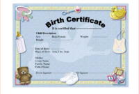 6+ Birth Certificate Templates – Bookletemplate for Birth Certificate Templates For Word