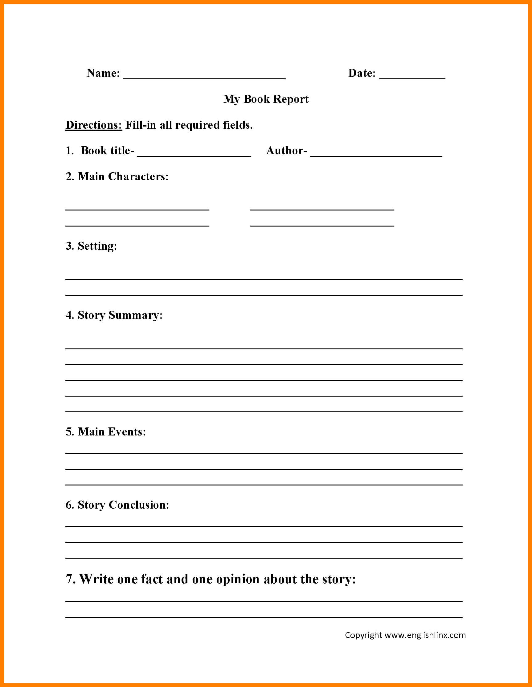 6+ Grade 2 Book Report Template | Management On Call In Skeleton Book Report Template