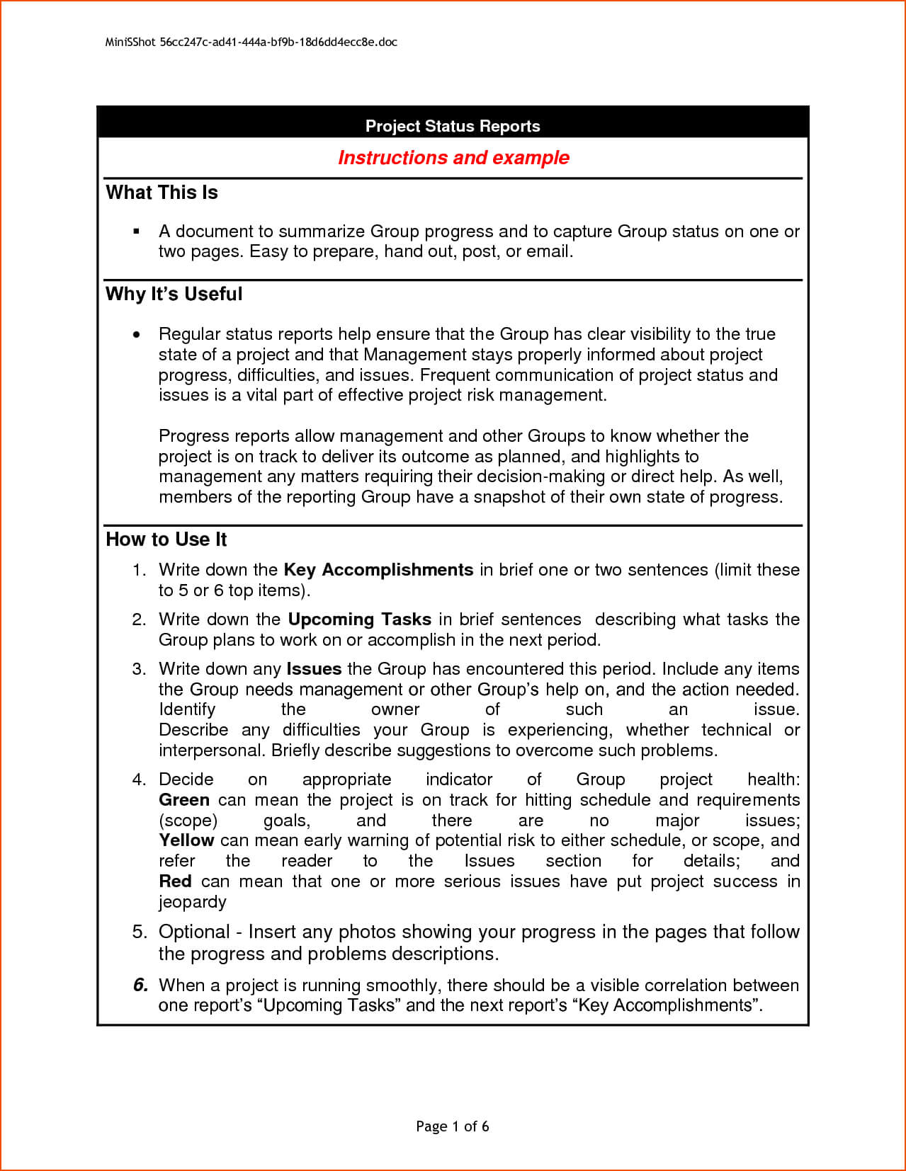 6+ Project Progress Report Template - Bookletemplate With Regard To Progress Report Template Doc