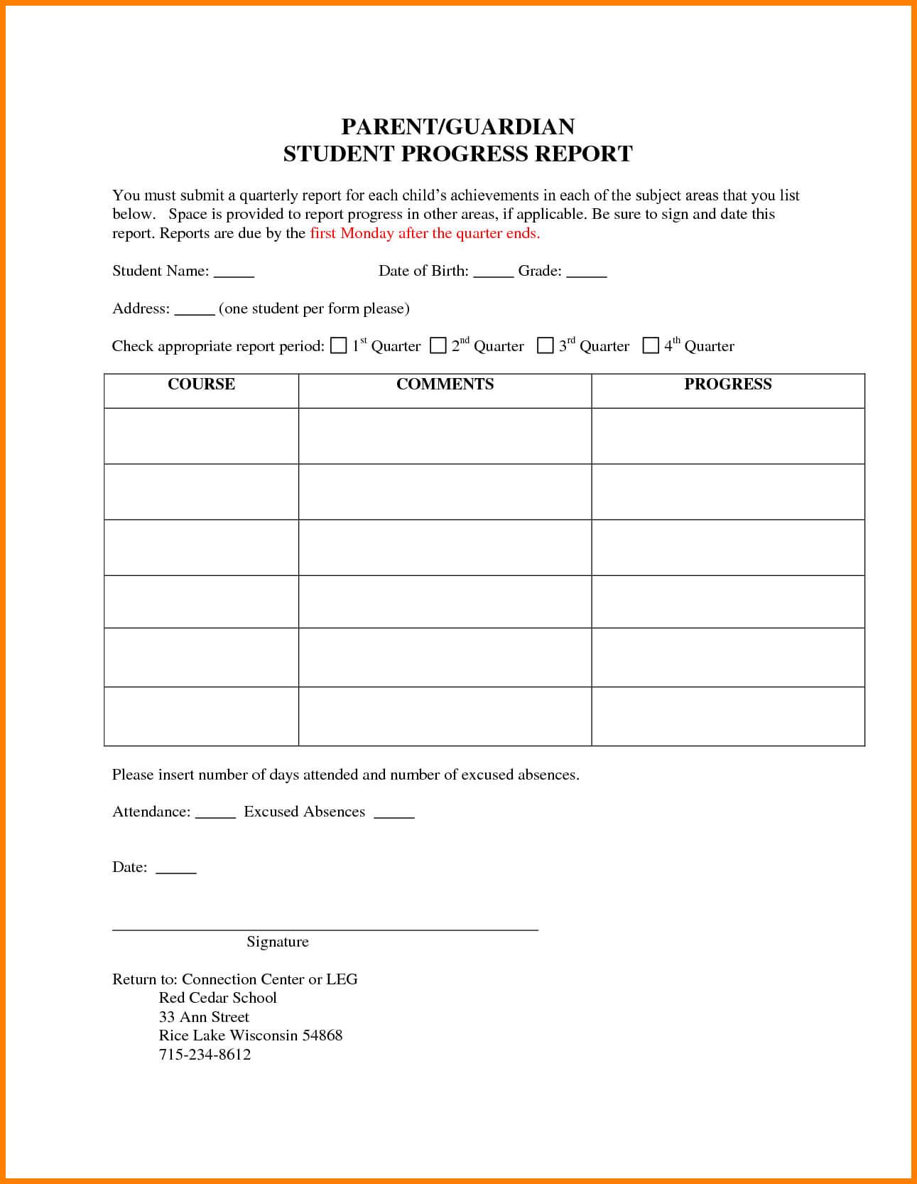 6+ Students Progress Report Template | Phoenix Officeaz pertaining to Educational Progress Report Template