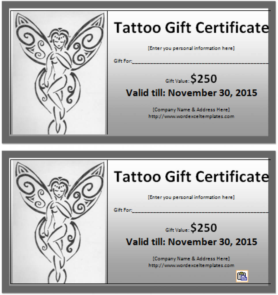 6 Tattoo Gift Certificate Templates Free Sample With With for Tattoo Gift Certificate Template
