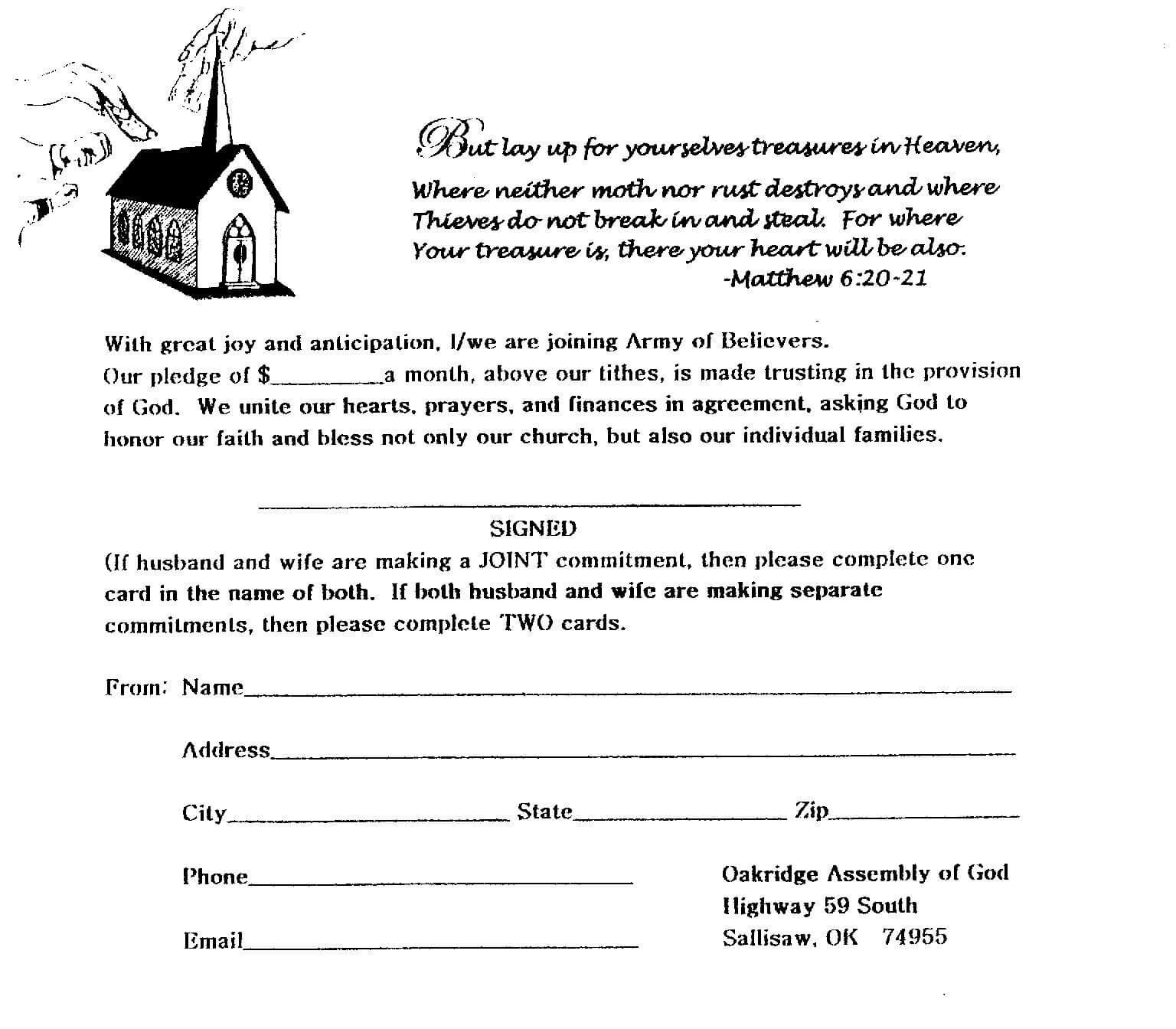 7 Best Photos Of Church Building Fund Pledge Form Template with Building Fund Pledge Card Template