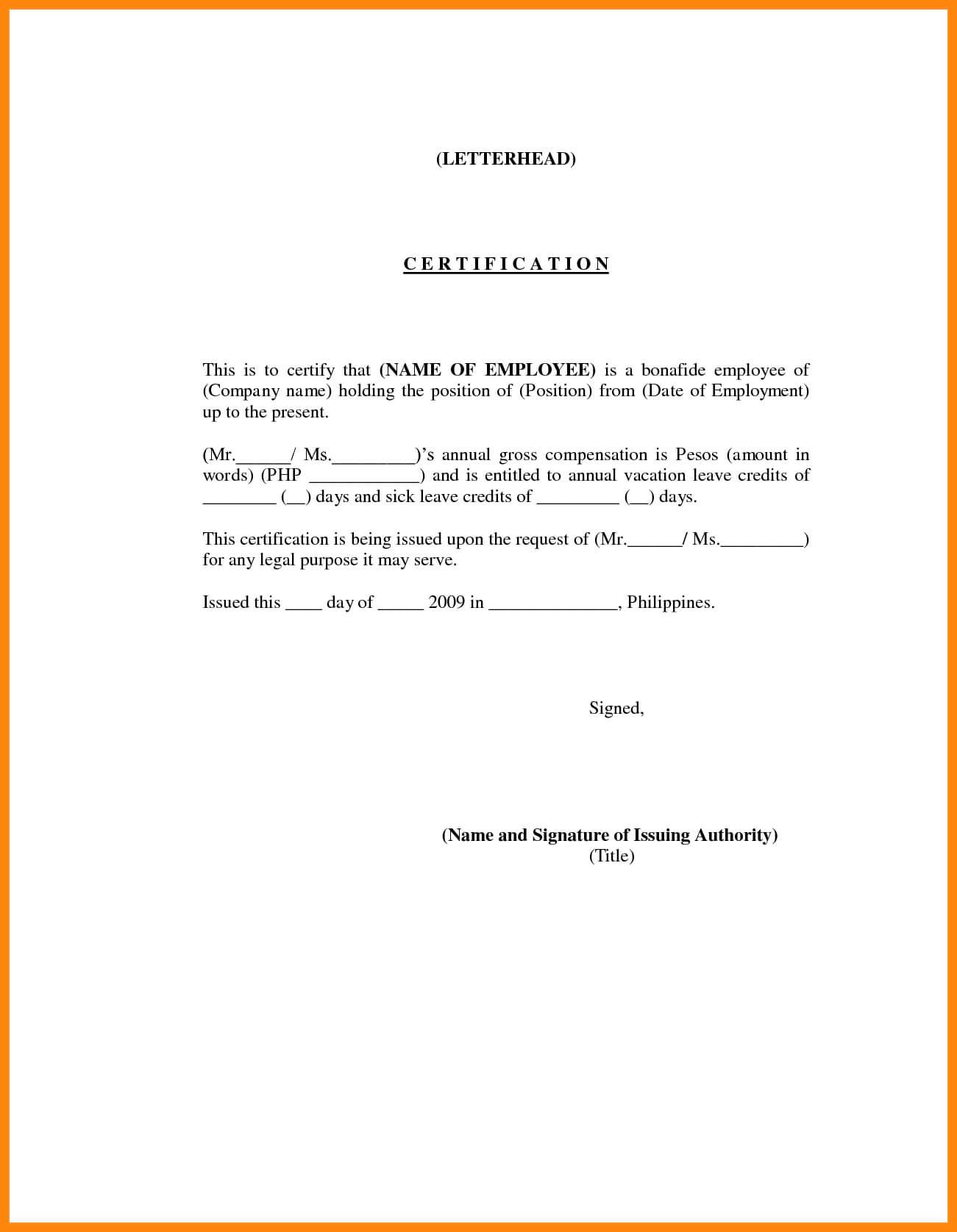 7+ Employment Certification Sample | Nurse Resumed Regarding Template Of Certificate Of Employment