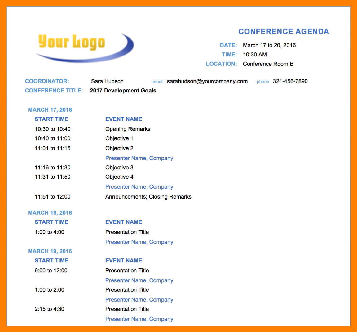 7+ Event Agenda Template Word | Business Opportunity Program Within Event Agenda Template Word