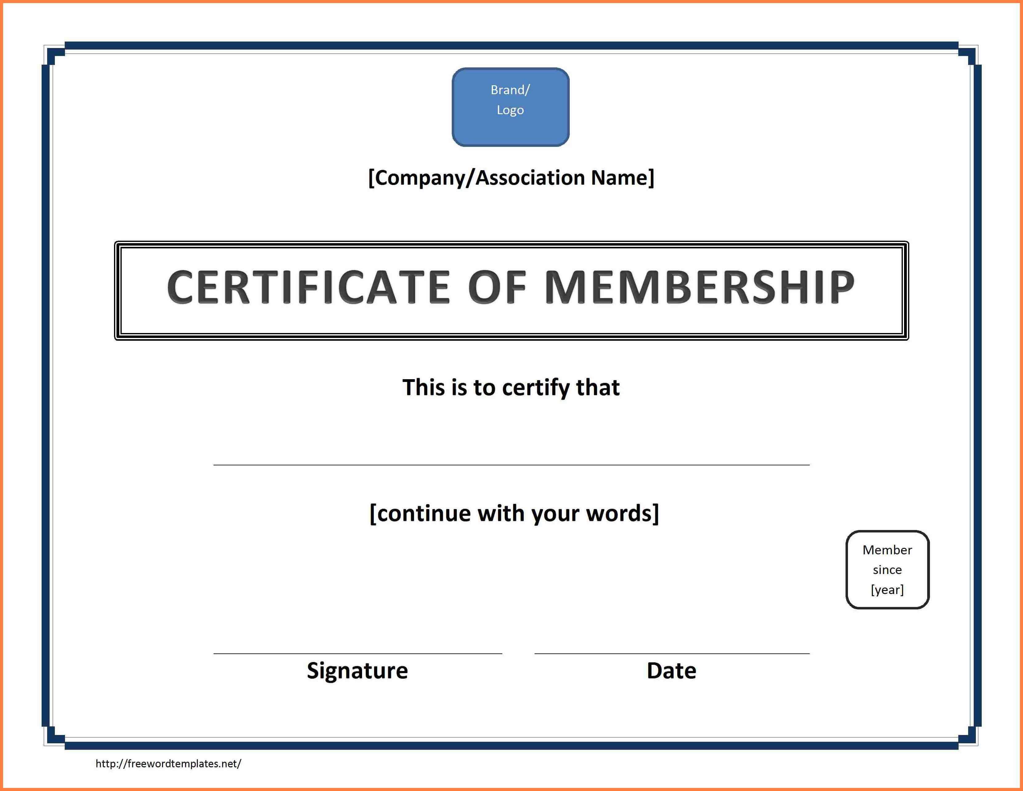 7+ Free Membership Certificate Template | Andrew Gunsberg with Landscape Certificate Templates