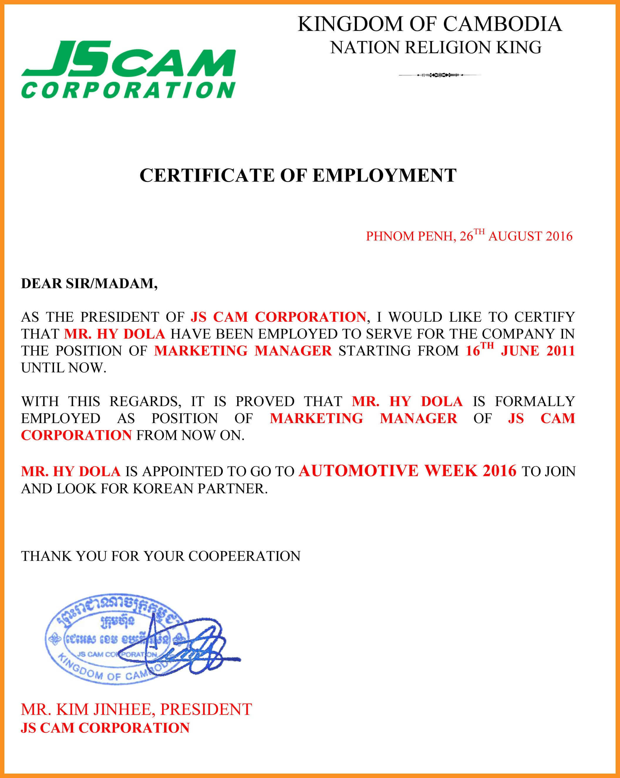78 Employment Certification Samples #30564630067 within Certificate Of Employment Template