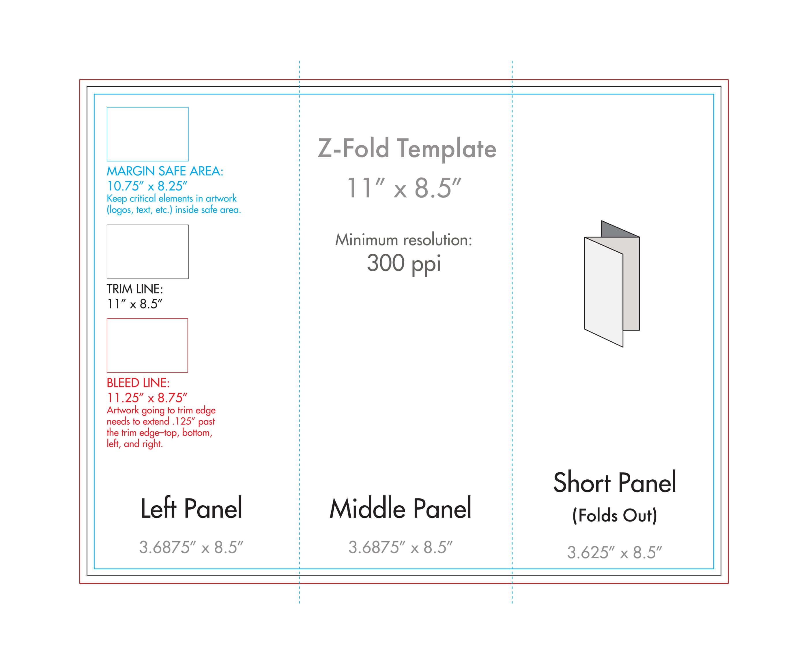 "8.5"" X 11"" Z Fold Brochure Template - U.s. Press inside 8.5 X11 Brochure Template"