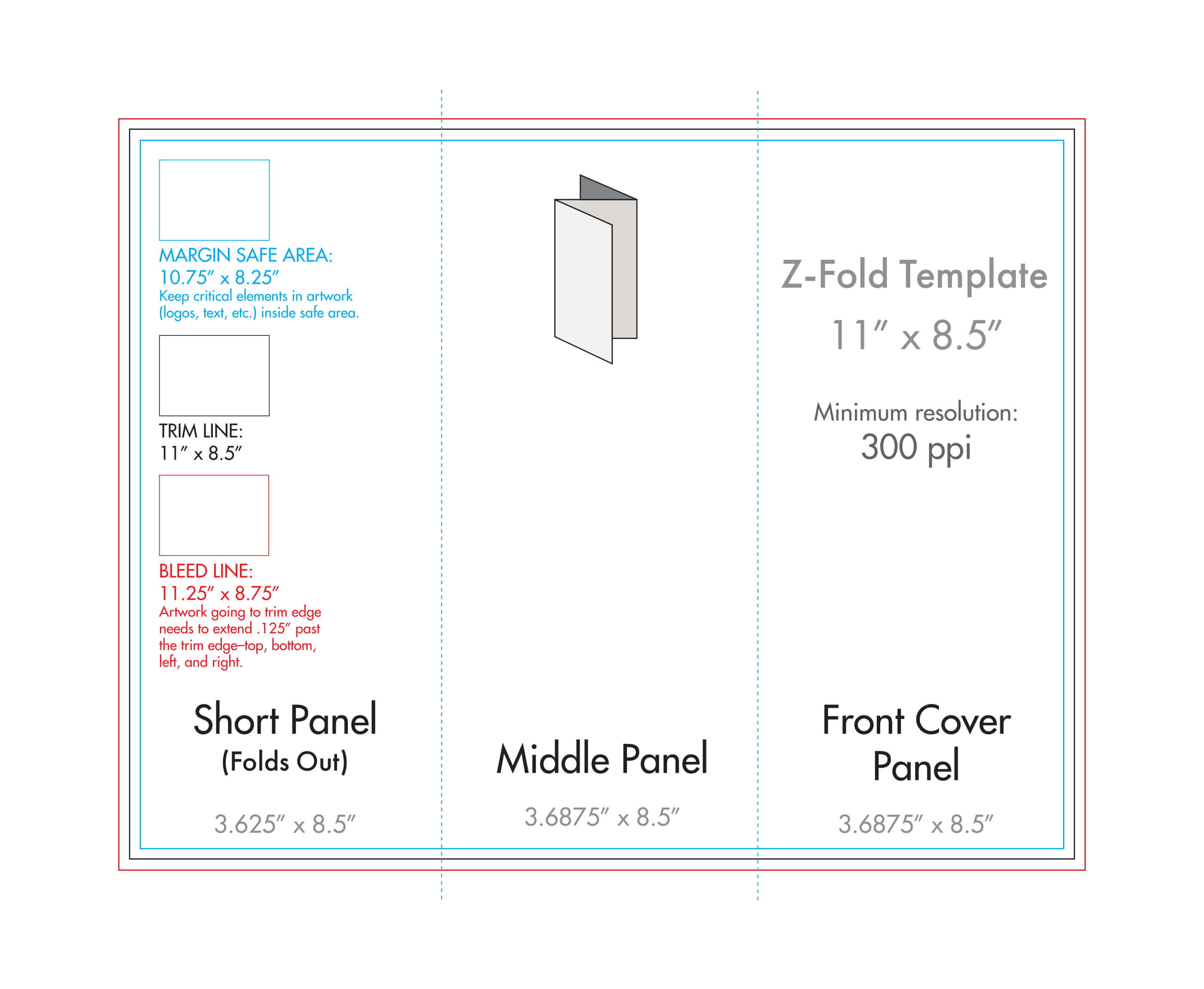 "8.5"" X 11"" Z Fold Brochure Template – U.s. Press Inside 8.5 X11 Brochure Template"