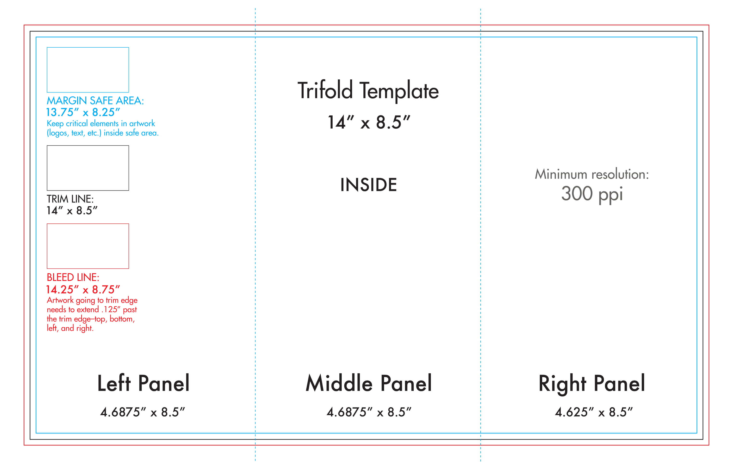 "8.5"" X 14"" Tri Fold Brochure Template - U.s. Press In 4 Panel Brochure Template"