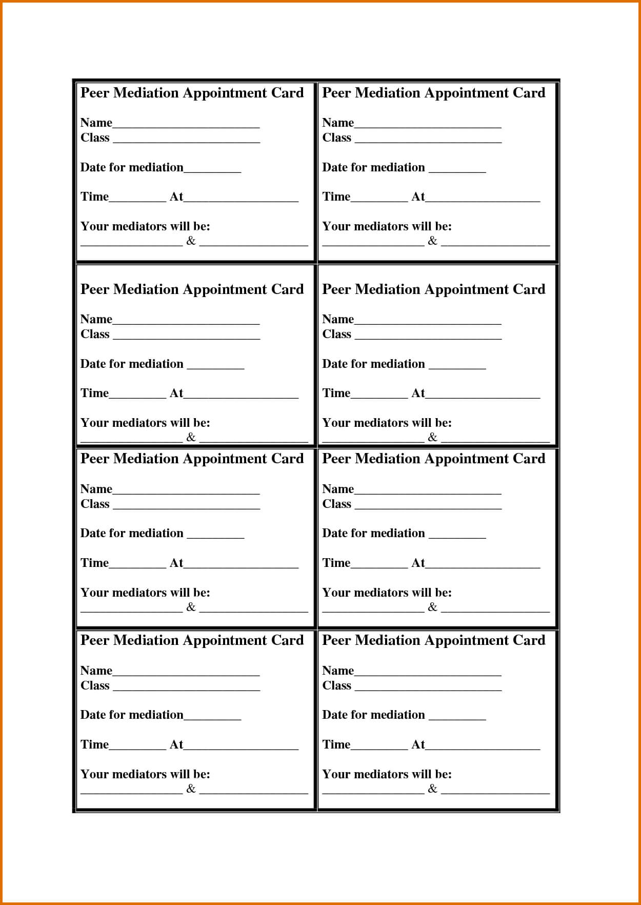 8 Appointment Card Templatereference Letters Words Inside Appointment Card Template Word