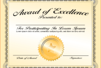 8+ Awards Certificate Template – Bookletemplate inside Award Of Excellence Certificate Template