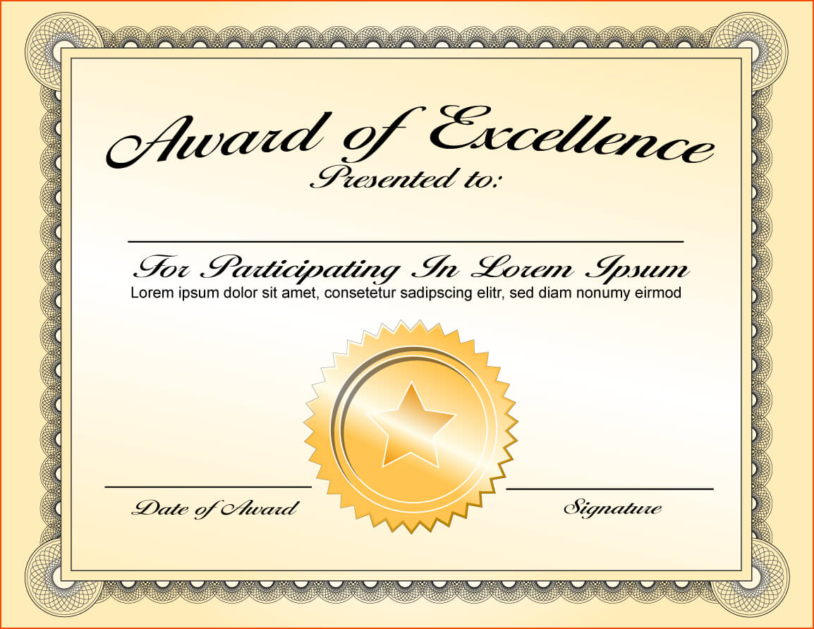8+ Awards Certificate Template - Bookletemplate Inside Award Of Excellence Certificate Template