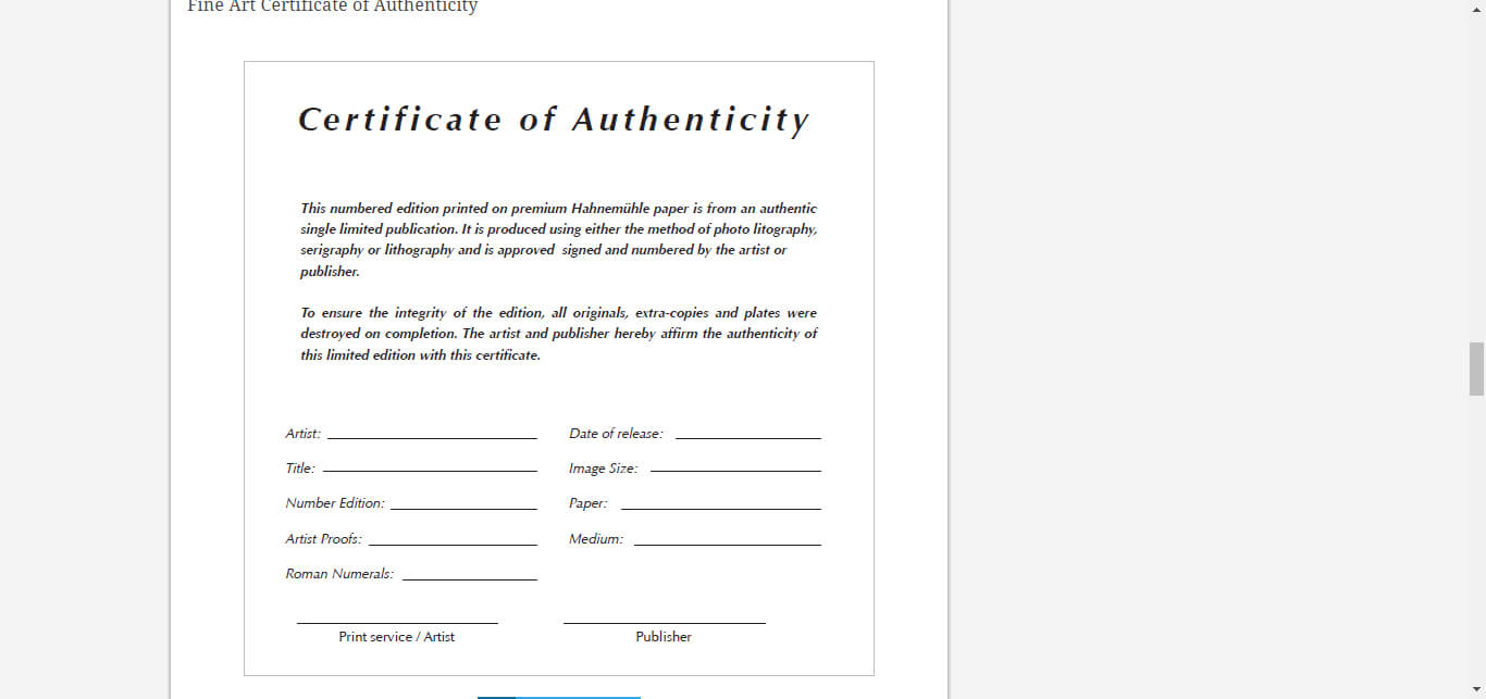 8 Certificate Of Authenticity Templates – Free Samples for Certificate Of Service Template Free