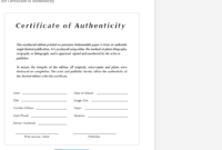 8 Certificate Of Authenticity Templates – Free Samples inside Art Certificate Template Free