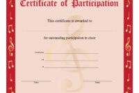 8+ Free Choir Certificate Of Participation Templates – Pdf in Choir Certificate Template