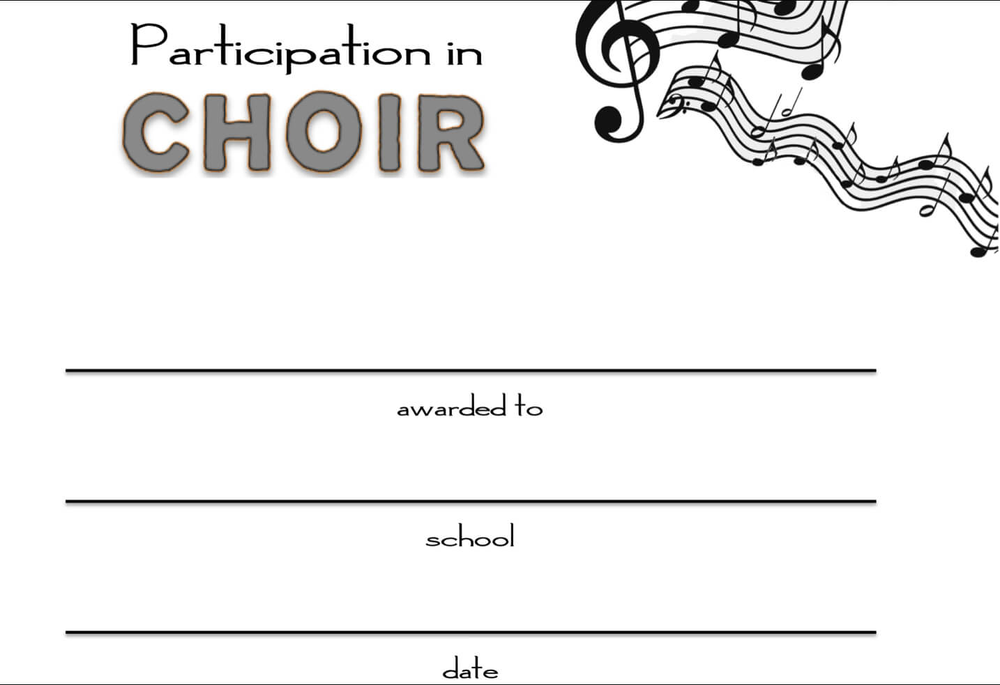 8+ Free Choir Certificate Of Participation Templates - Pdf Inside Choir Certificate Template