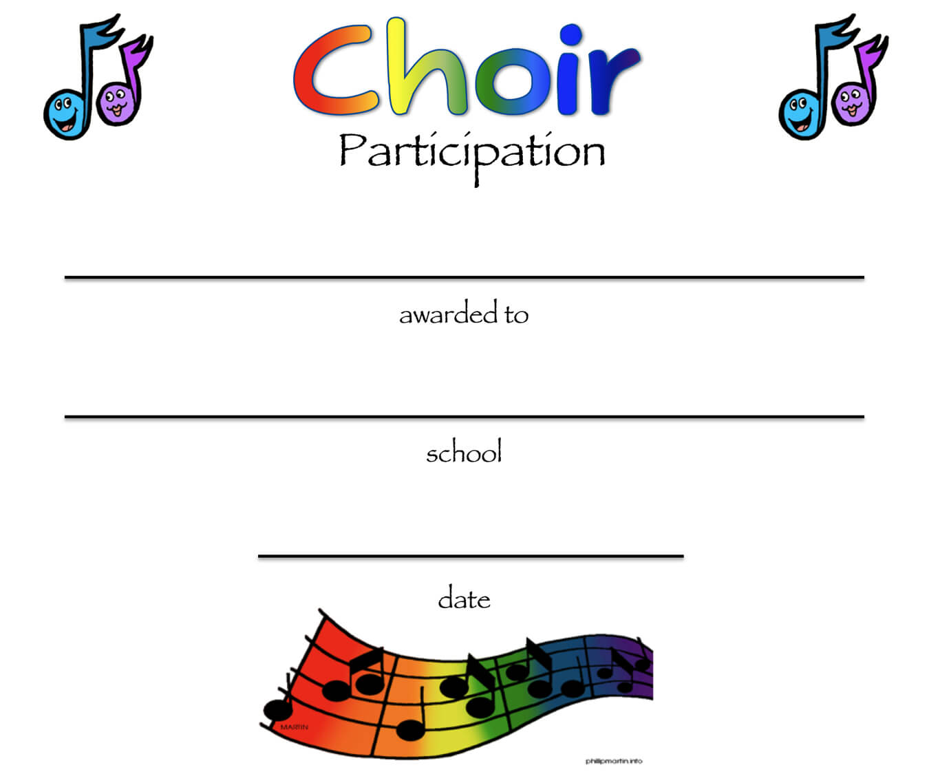 8+ Free Choir Certificate Of Participation Templates - Pdf regarding Choir Certificate Template