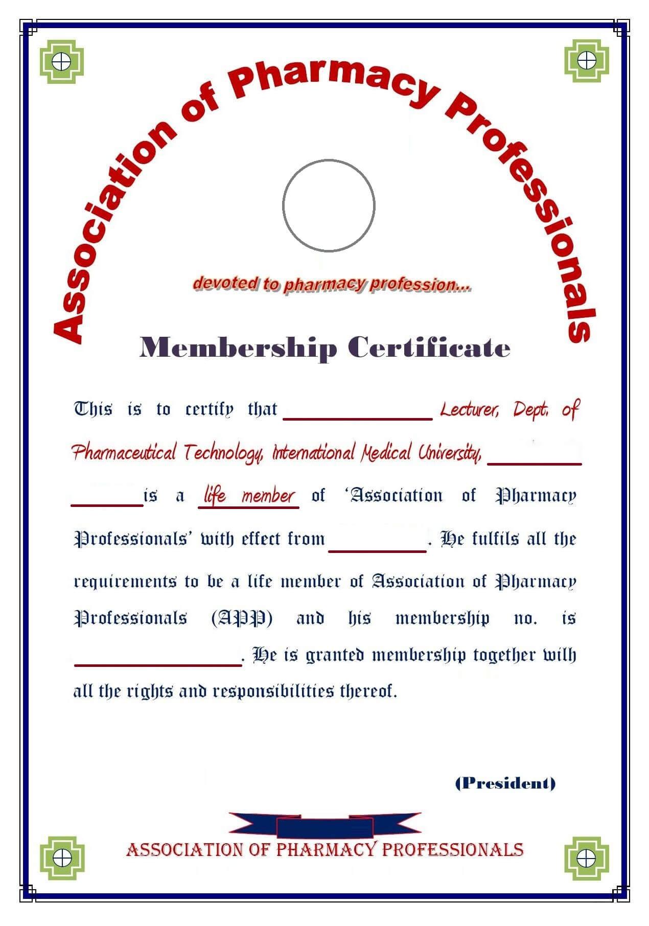 8+ Medical Membership Certificate Templates - Pdf | Free inside Life Membership Certificate Templates