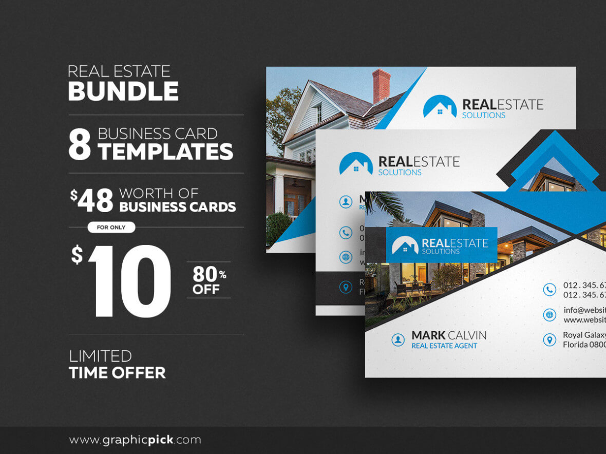 8 Real Estate Business Cards - Graphic Pick in Real Estate Business Cards Templates Free