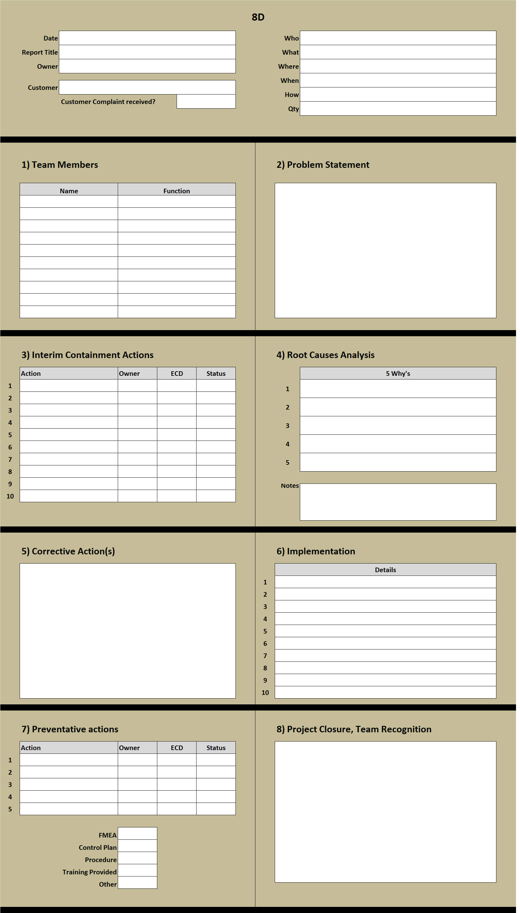 8D Excel Template Learn How To Create An 8D Problem Solving within 8D Report Template