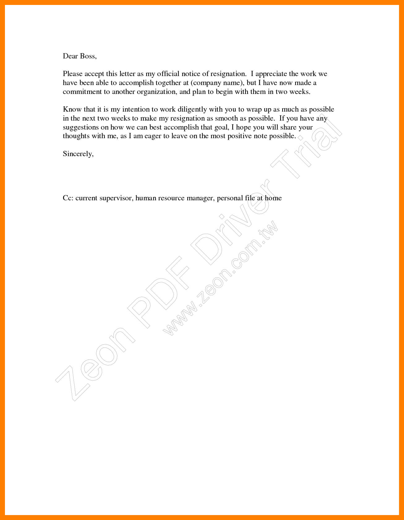 9+ 2 Weeks Notice Template Word | Time Table Chart with regard to 2 Weeks Notice Template Word