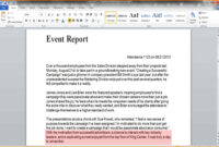 9+ Event Report Template Word   Business Opportunity Program regarding Report Template Word 2013