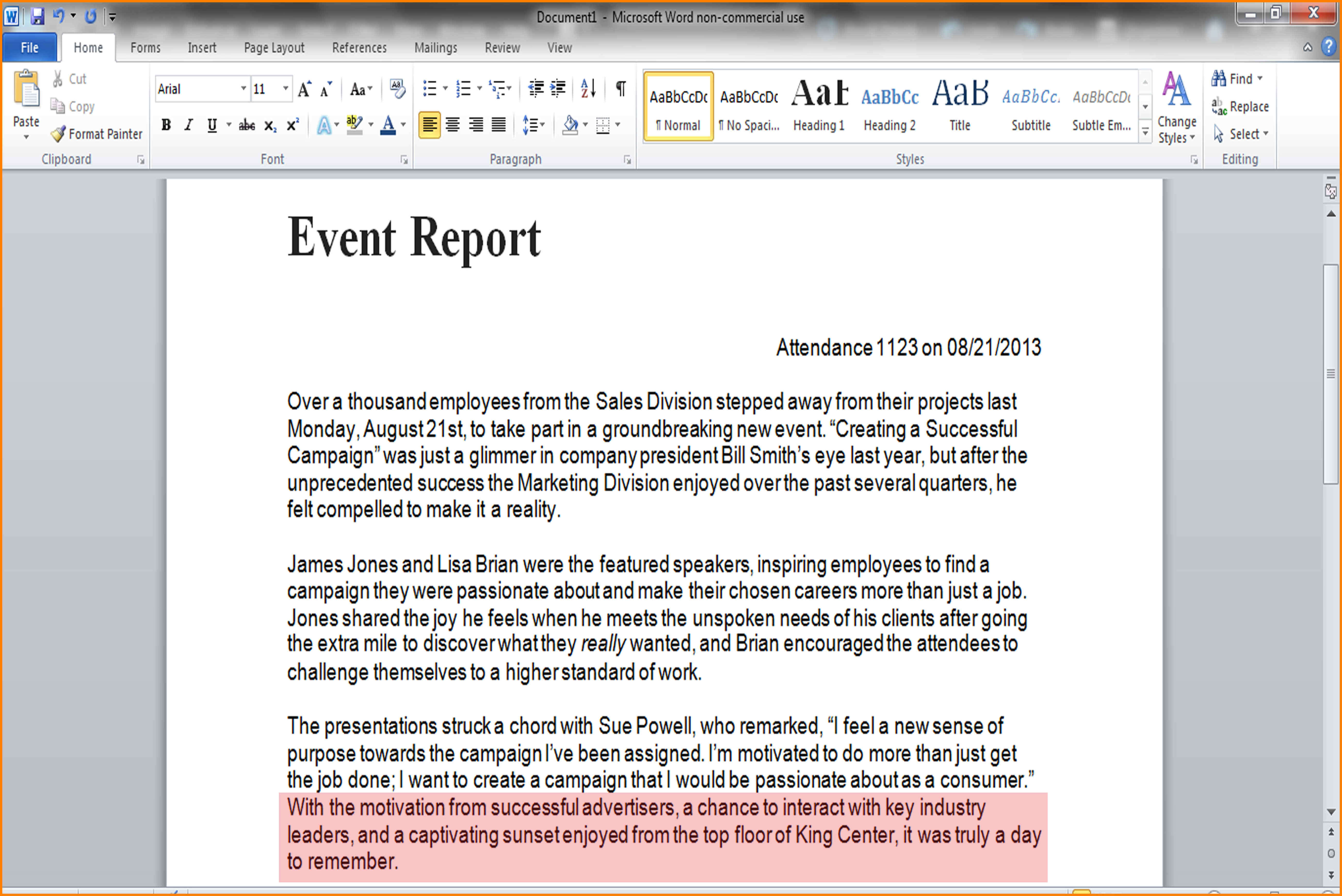 9+ Event Report Template Word | Business Opportunity Program with Post Event Evaluation Report Template
