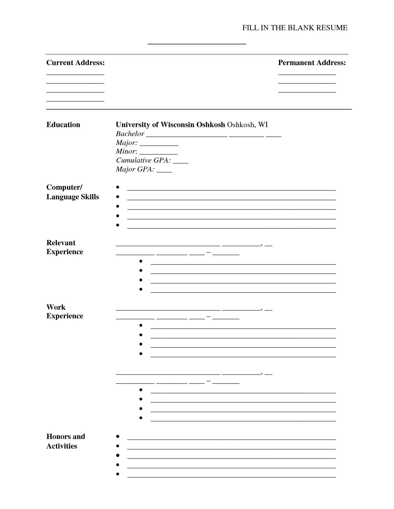 A Cv Template To Fill In | Job Hunt | Sample Resume Format for Blank Resume Templates For Microsoft Word