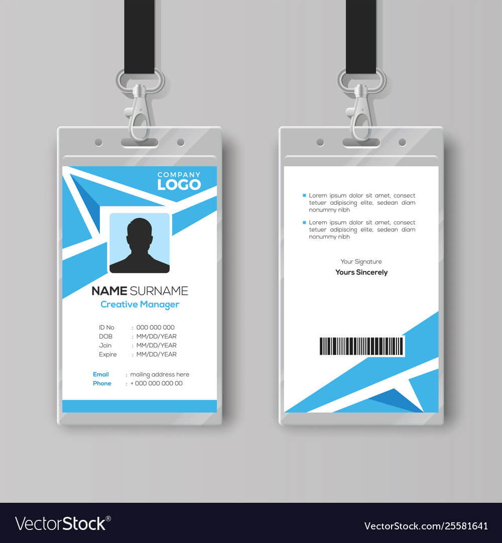 Abstract Blue Id Card Design Template throughout Template For Id Card Free Download