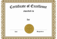 Academic Excellence Award Certificate Template New Free within Academic Award Certificate Template
