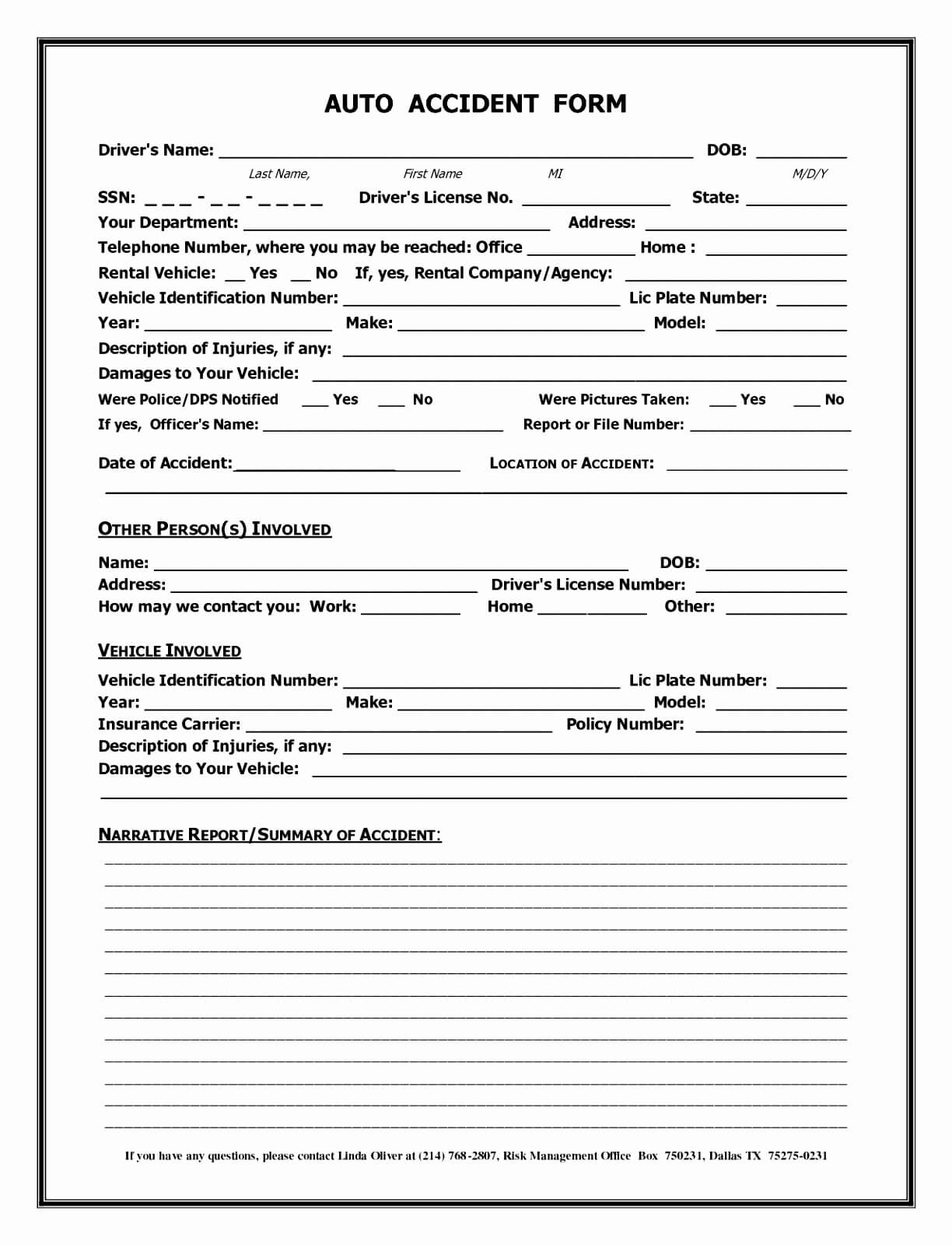 Accident Report Form Template Uk - Atlantaauctionco In Vehicle Accident Report Template