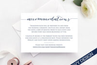 Accommodation Card Insert, Wedding Information Card Template, Diy Bride  Invite Template, Printable Wedding Details Card Templates in Wedding Hotel Information Card Template