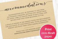 Accommodations Card · Wedding Templates And Printables in Wedding Hotel Information Card Template