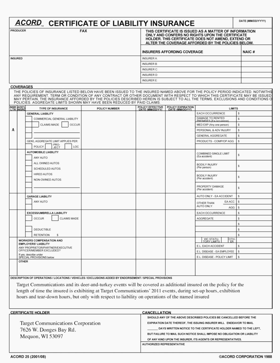 Acord 25 Fillable 2016 Elegant Accord Form – Free Fillable Regarding Acord Insurance Certificate Template