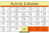 Activity Calendar Template – Printable Week Calendar for Blank Activity Calendar Template