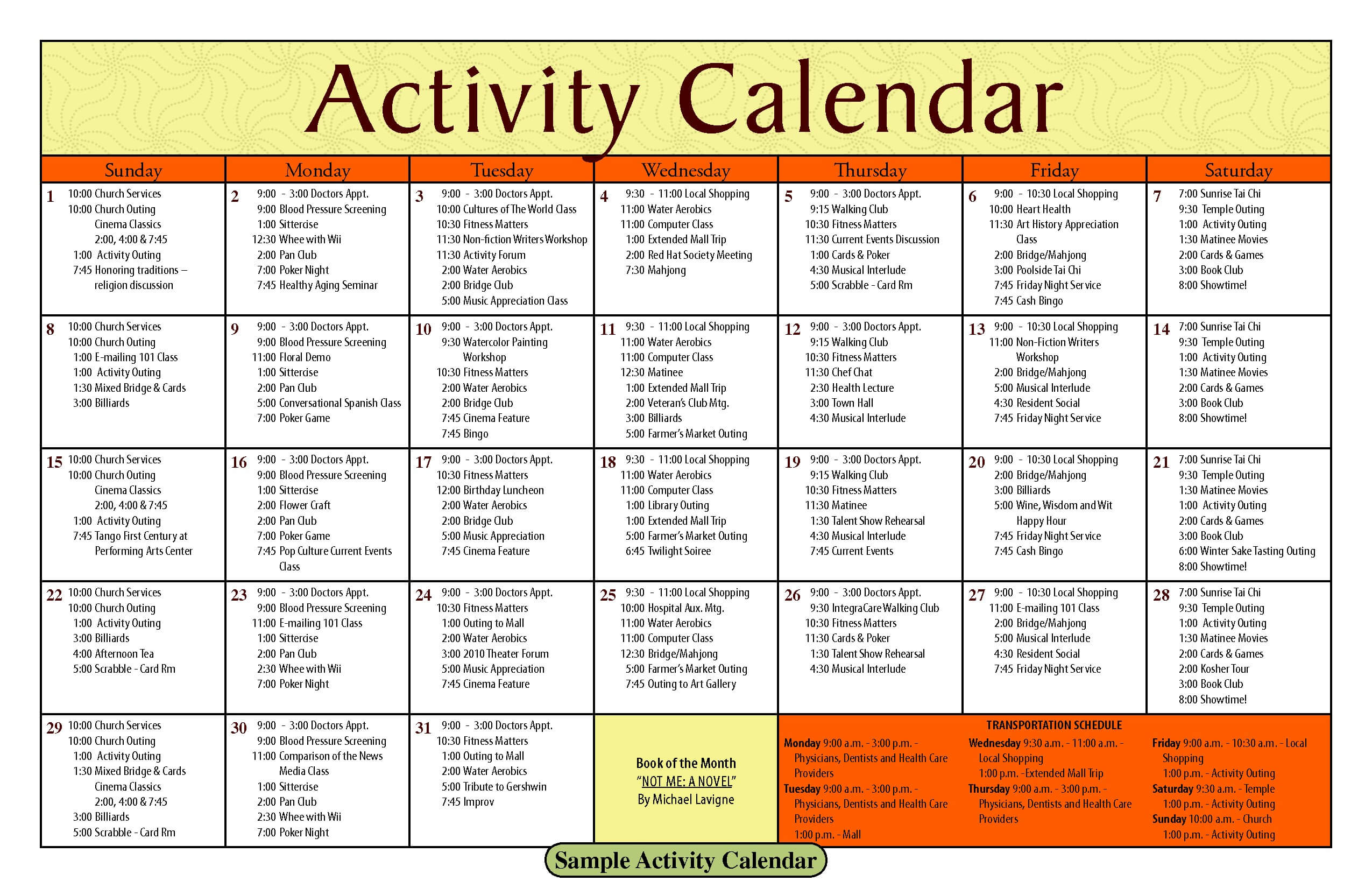 Activity Calendar Template – Printable Week Calendar for Blank Activity Calendar Template