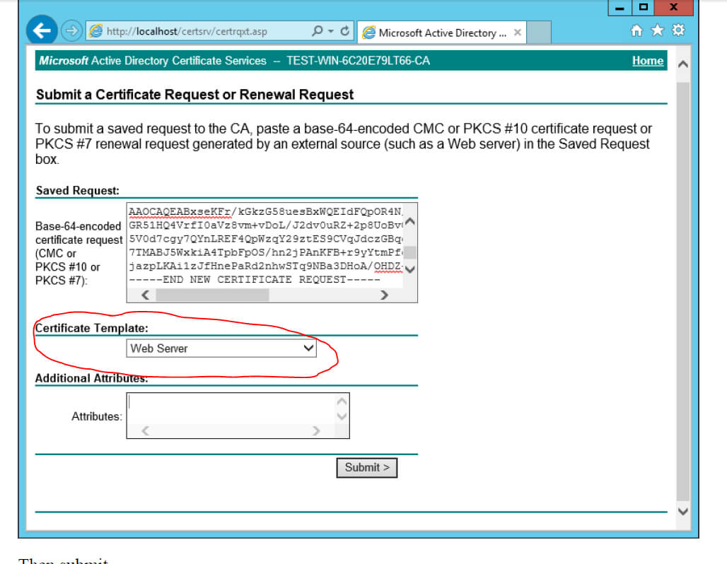Ad Certificate Services – The Combobox To Select Template Is Throughout Active Directory Certificate Templates