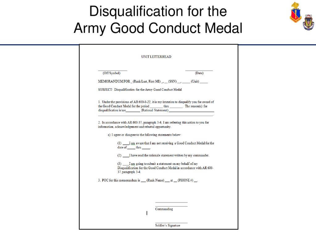 Administer Awards And Decorations - Ppt Download in Army Good Conduct Medal Certificate Template