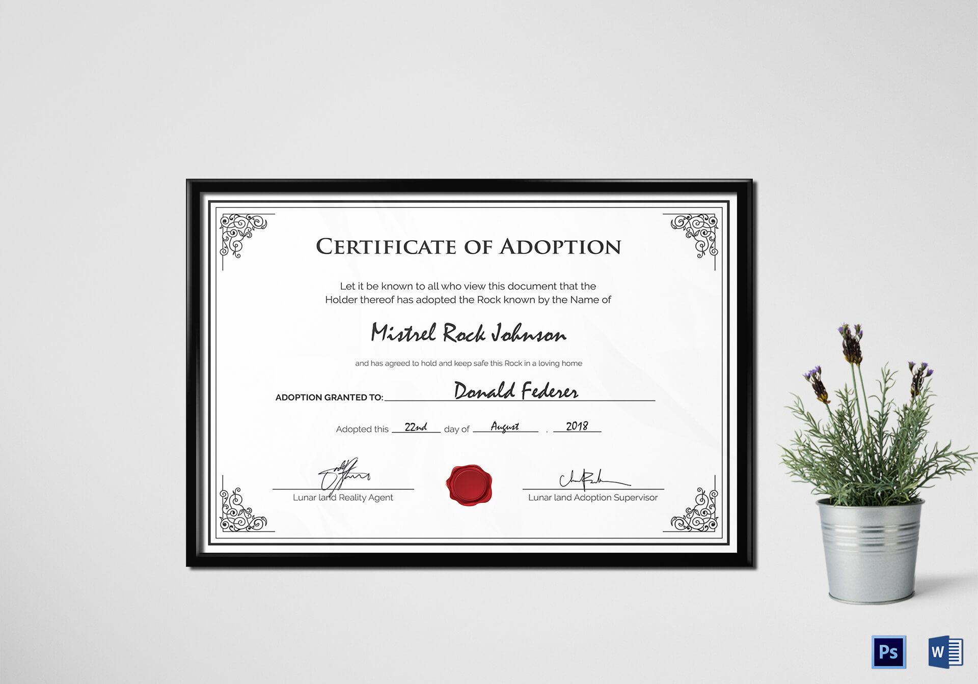 Adoption Birth Certificate Template inside Blank Adoption Certificate Template